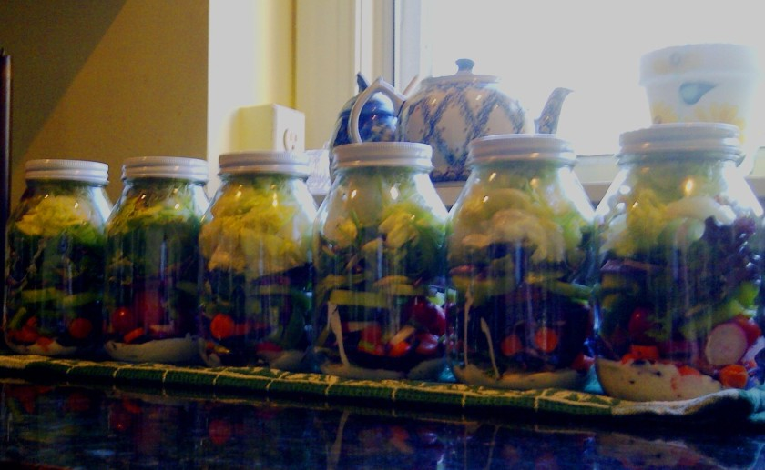Freshly made: Six jars of fresh salad lined up on my counter